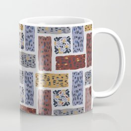 Brown and Grey Abstract Textured Shape Grid Coffee Mug