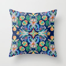 Boho Navy and Brights Throw Pillow