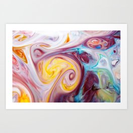 Hiccups - Milk & Food Coloring Painting Art Print