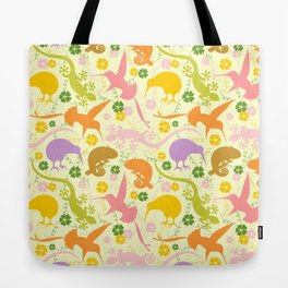 Animals Exotic Pastel Colors Shapes Pattern Tote Bag
