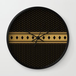 Rich Black Gold Diamond Pattern Design Wall Clock