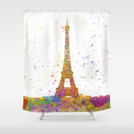 Eiffel tower in watercolor Shower Curtain