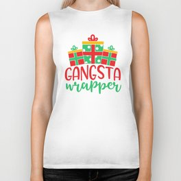 Gangsta Wrapper Funny Xmas Quote Biker Tank