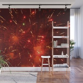 Red Fireworks Wall Mural