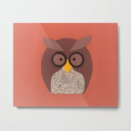 Owl Brown Peach Metal Print