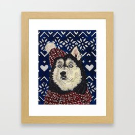 Husky in a Hat and Scarf Framed Art Print