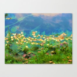 Autumn leaves on water 5 Canvas Print