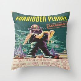 Vintage poster - Forbidden Planet Throw Pillow