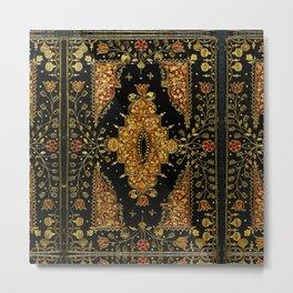 Black and Gold Floral Book Metal Print