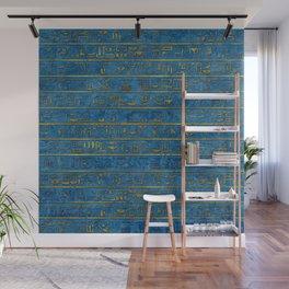 Golden Embossed Egyptian hieroglyphs on blue Wall Mural