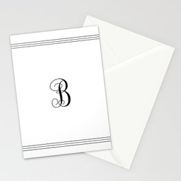 Monogram Letter B in Black with Triple Border Stationery Cards