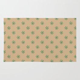 Cadmium Green on Tan Brown Snowflakes Rug
