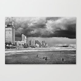 Surfers waiting for the wave, Tel-Aviv, israel Canvas Print