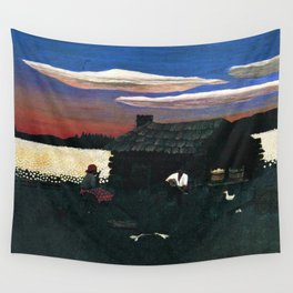 African American Masterpiece 'Cabin in the Cotton No 3' by Horace Pippin Wall Tapestry