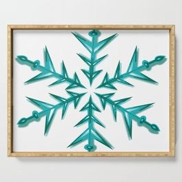 Minimalistic Aquamarine Snowflake Serving Tray