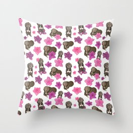 Fluffy Dogs and Blooming Azalea Floral Seamless Pattern Throw Pillow