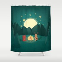 camp Shower Curtains featuring Camp Fires by Milli-Jane