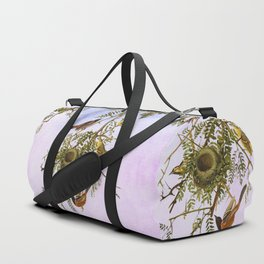 Sky Blue Pink with birds Duffle Bag