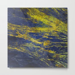 Classic Vintage Blue Faux Marble With Gold Veins Metal Print