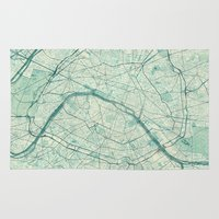 vintage map Area & Throw Rugs featuring Paris Map Blue Vintage by City Art Posters