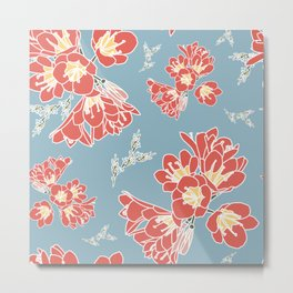 Floral Blue Metal Print