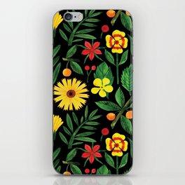 Black yellow orange green watercolor tulips daisies pattern iPhone Skin