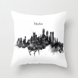 Boston Skyline Black and White Throw Pillow