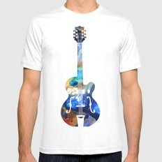 Vintage Guitar - Colorful Abstract Musical Instrument White Mens Fitted Tee MEDIUM