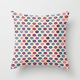 Retro Lips Pattern Throw Pillow
