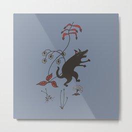Black Dog Dancing in a Gorey Garden Metal Print
