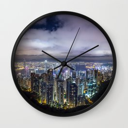 Beautiful Hong Kong city dark night view Wall Clock