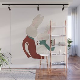 Couple of rabbits in love Wall Mural