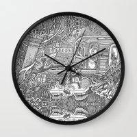 velvet underground Wall Clocks featuring Underground by Olya Goloveshkina