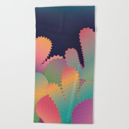 Colorful Glowing Cactus Beach Towel