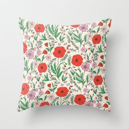 RETRO POPPY - PINK & RED Throw Pillow