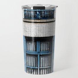 Architect Drawing of Blue Wooden Windows Travel Mug