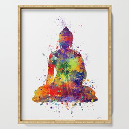 Buddha Watercolor Yoga Poster Zen decor Serving Tray