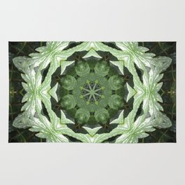 Tropical Twist - Green Leaves Kaleidoscope, Mandala Rug