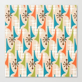 Mid Century Modern Atomic Wing Composition 66 Brown Orange Turquoise and Chartreuse Canvas Print