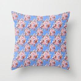 Blue Textile Throw Pillow