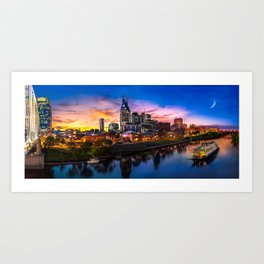 Nashville Skyline Sunset Art Print
