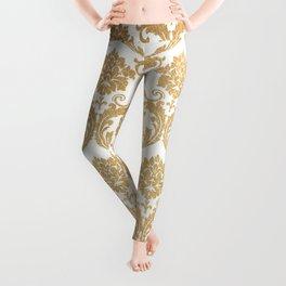Gold swirls damask #4 Leggings