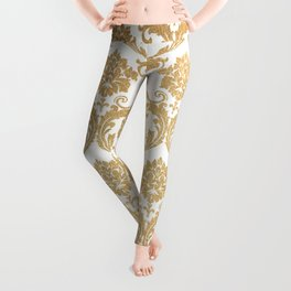 Gold swirls damask #4 Leggings