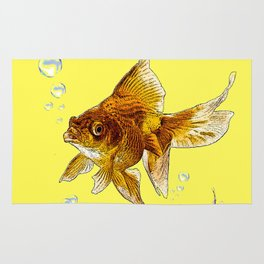 PRIZE WINNING BLACK-GOLDFISH YELLOW ART Rug