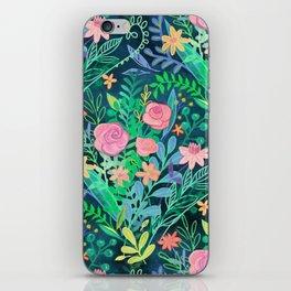 Roses + Green Messy Floral Posie iPhone Skin