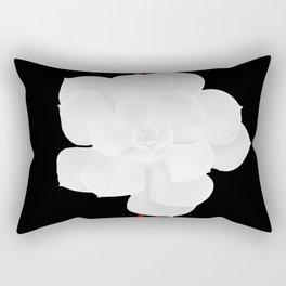 White Succulent On Black #decor #society6 #buyart Rectangular Pillow