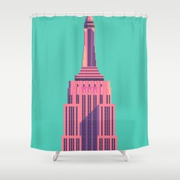 Empire State Building New York Art Deco - Green Shower Curtain