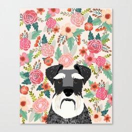 Schnauzer florals dog portrait dog art pet portraits by pet friendly Canvas Print