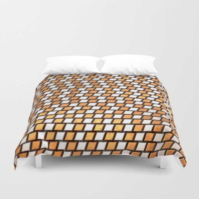 Irregular Chequers - Steel and Copper - Industrial Chess Board Pattern Duvet Cover