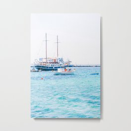 510. 2 masts boat in Harbor, Mykonos, Greece Metal Print